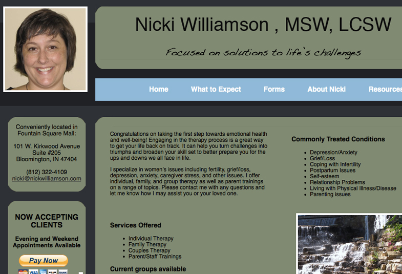 Nicki Williamson, MSW, LCSW - Michael Shermis Portfolio